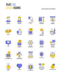 Flat line multiclor icons design-Social media & Network