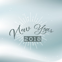 Happy New Year greeting card typography flyer template with lettering. Poster, card, label, banner and reindeer design. Vector illustration
