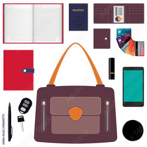 fedbaf9f4a Woman s handbag and contents. Diary