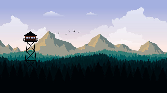 Vector Art Landscape with Fire Lookout Tower