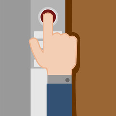 Pressing Button Hand Gesture Vector Illustration Graphic