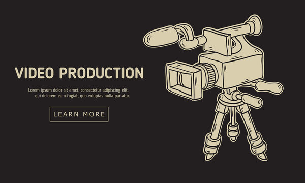 Video Production Design With Isolated Video Camera On A Tripod Artistic Cartoon Hand Drawn Sketchy Line Art Style Drawing