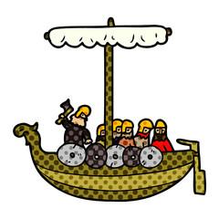 cartoon vikings sailing