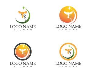 Giraffe head logo design template