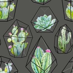 Watercolor vector cactus pattern