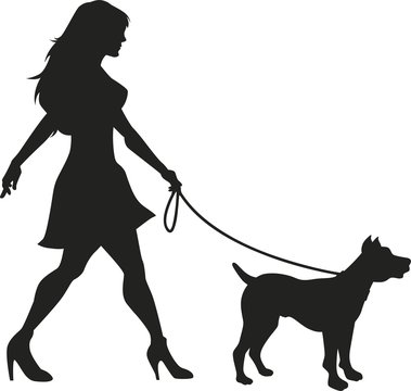 Vector silhouette of an woman walking with a dog