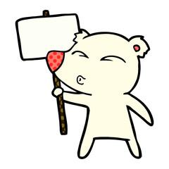 cartoon polar bear with placard