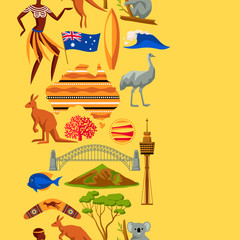 Australia seamless pattern. Australian traditional symbols and objects
