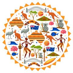 Australia background design. Australian traditional symbols and objects