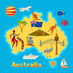 Australia map design. Australian traditional symbols and objects
