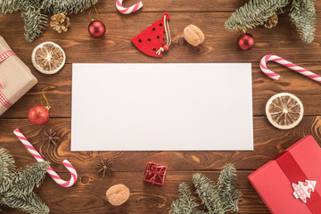 Envelope on christmas holiday background