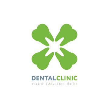 Dental Clinic Logo Design Template. Creative Clover Flower Teeth Medicine Stomatology Concept.