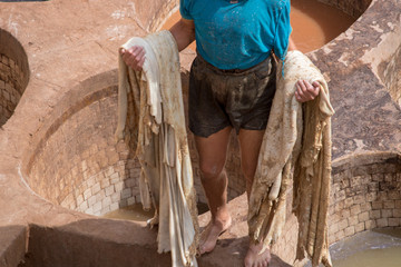 street life morocco marrakech old medina leather tannery