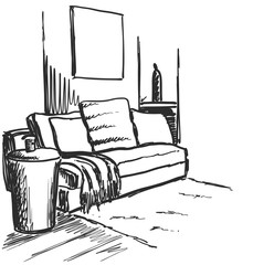 Sofa and basket on white background. Vector illustration in a sketch style.