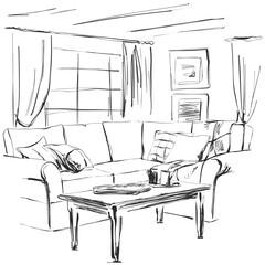 Hand drawn room interior sketch. Sofa, table, window and other furniture
