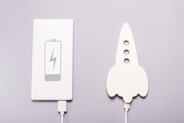 Space rocket filling with power bank