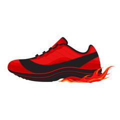 Casual Basketball Shoe with Fire Vector and Icon