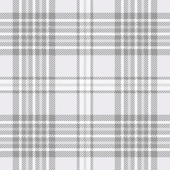 Plaid check pattern in pastel grey and white. Seamless fabric texture print.