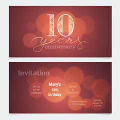 10 years anniversary invitation to celebration vector illustration
