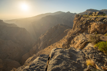 Foto op Canvas Canyon Oman Mountains at Jabal Akhdar in Al Hajar Mountains