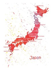 Stylized map of Japan