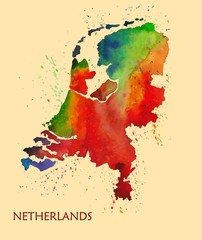 Hand drawn watercolor map of Netherlands.