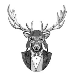 Deer Animal wearing jacket with bow-tie and biker helmet or aviatior helmet. Elegant biker, motorcycle rider, aviator. Image for tattoo, t-shirt, emblem, badge, logo, patch