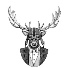 Deer Animal wearing jacket with bow-tie and biker helmet or aviatior helmet. Elegant biker, motorcycle rider, aviator. Image for tattoo, t-shirt, emblem, badge, logo, patch