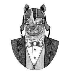 Rhinoceros, rhino Animal wearing jacket with bow-tie and biker helmet or aviatior helmet. Elegant biker, motorcycle rider, aviator. Image for tattoo, t-shirt, emblem, badge, logo, patches