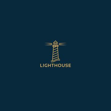 Vector lighthouse geometric illustration for logo, label design. Nautical, seafood restaurant, hotel, surveillance themes.