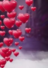 Shiny bubbly Valentines hearts with purple city misty background