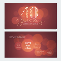 40 years anniversary invitation to celebration vector illustration