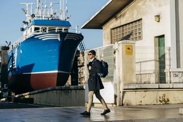 Stylish man at ship
