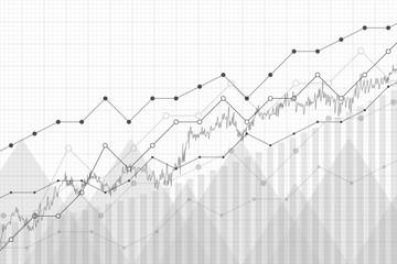Financial data graph chart, vector illustration. Growth company profit economic concept. Trend lines, columns, market economy information background.