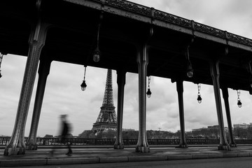 The Eiffel tower at Paris from the river Seine in morning