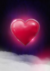 Shiny heart glowing with purple misty background