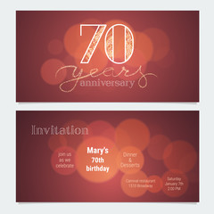 70 years anniversary invitation to celebration vector illustration