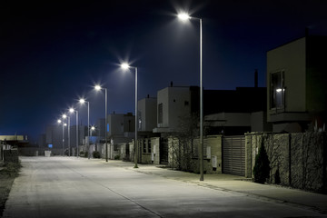 empty night street in residential area