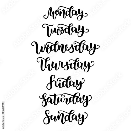Quot hand lettering days of week sunday monday tuesday