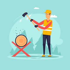 Lumberjack with an ax.  Flat design vector illustration.