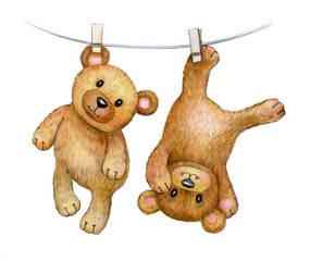 Cute hanging  baby bear  isolated, hand drawing.