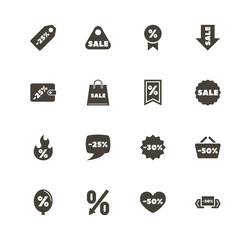 Discount Tags icons. Perfect black pictogram on white background. Flat simple vector icon.
