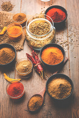 Foto op Canvas Kruiden Indian colourful spices. Group photo of four basic Indian spices like raw red chilli, turmeric, coriander and cumin powder. selective focus
