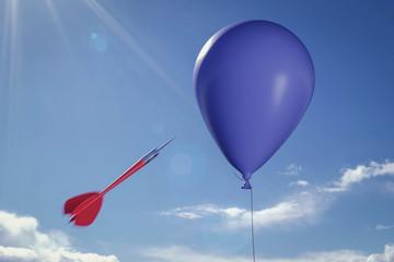 Dartpfeil und Luftballon