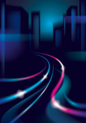 Traffic shiny trails of the night city road. Effect vector beautiful background. Blur colorful dark background with cityscape, buildings silhouettes skyline.