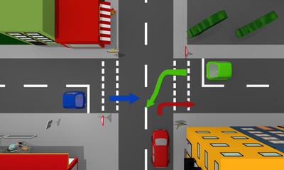 Stadtansicht von oben: Kreuzung mit Vorfahrtsstraße und Vorfahrt gewähren und Richtungspfeilen.