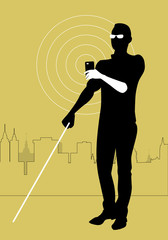 Mobile Technology for People with Visual Impairments. Blind man using smartphone with adapted technology