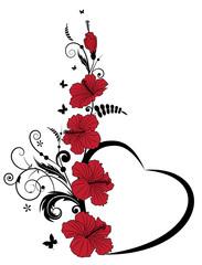 Valentine floral frame