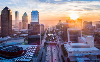 Aluminium Prints Texas Downtown Dallas Smoke Sunset