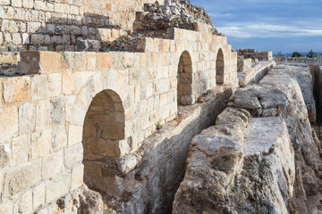 Ruins  on the territory of the Grave of Samuel - The Prophet located in An-Nabi Samwil also al-Nabi Samuil - Palestinian village in Jerusalem Governorate in Israel